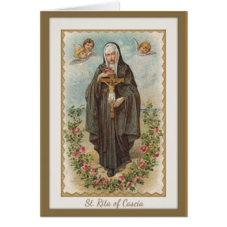 St. Rita of Cascia w/angels & Crucifix Card
