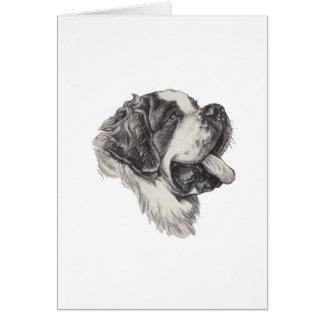 St Saint Bernard Dog Charcoal Art Drawing Greeting Card