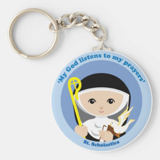 St. Scholastica Basic Round Button Key Ring