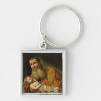 St. Simeon Presenting the Infant Christ Silver-Colored Square Key Ring