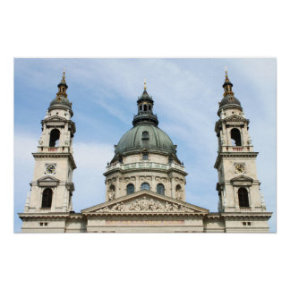 St Stephens Basilica and Clock Tower in Budapest Poster