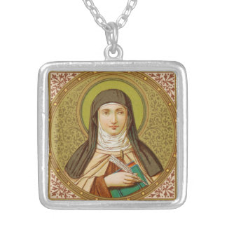 St. Teresa of Avila (SNV 27) Square Silver Plated Necklace