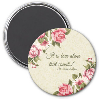 "St. Therese ""Love Alone that Counts"" with Pink Ros 7.5 Cm Round Magnet"