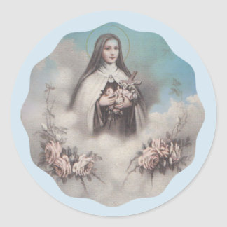 St. Therese of Lisieux with crucifix/roses sticker