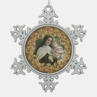 St. Therese of the Child Jesus Little Flower Snowflake Pewter Christmas Ornament