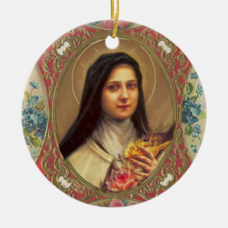 St. Therese of the Infant Jesus Roses Crucifix Ceramic Ornament