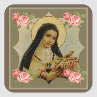 St. Therese Pink Roses Square Sticker