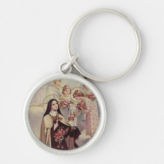 St. Therese the Little Flower Pink Roses Angels Key Ring