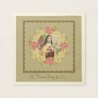 St. Therese the Little Flower Pink Roses Paper Napkins