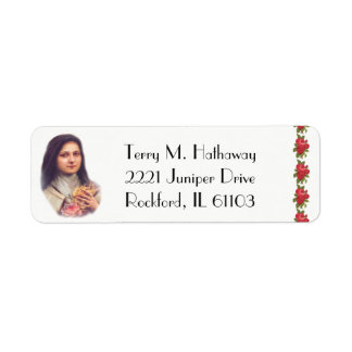 St. Therese the Little Flower Red Roses Return Address Label