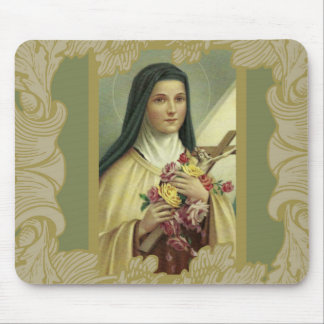 St. Therese the Little Flower red yellow pink rose Mouse Pad