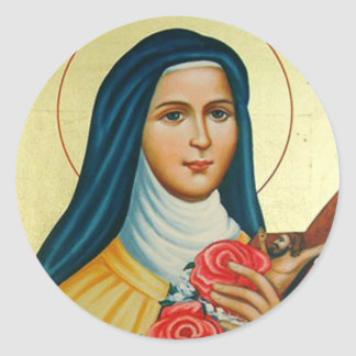 St. Therese the Little Flower Roses Crucifix Classic Round Sticker