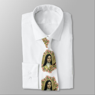St. Therese the Little Flower Roses Crucifix Tie
