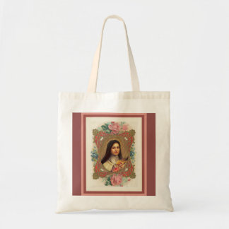 St. Therese the Little Flower Roses Crucifix Tote Bag