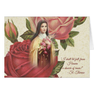 St. Therese the Little Flower w/pink roses Card