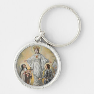 St. Therese, Virgin Mary, St. Joan of Arc Roses Silver-Colored Round Key Ring
