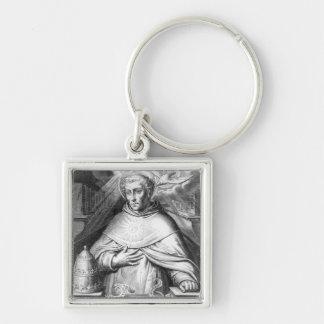 St. Thomas Aquinas Silver-Colored Square Key Ring