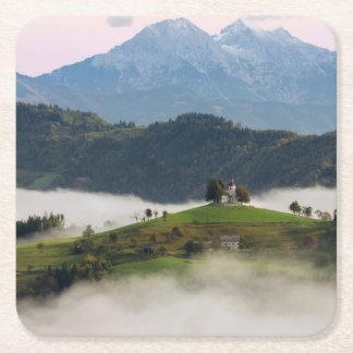 St. Thomas church and mountains, Slovenia coaster