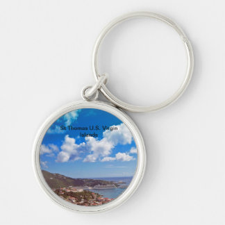 St Thomas U.S. Virgin Islands Silver-Colored Round Key Ring