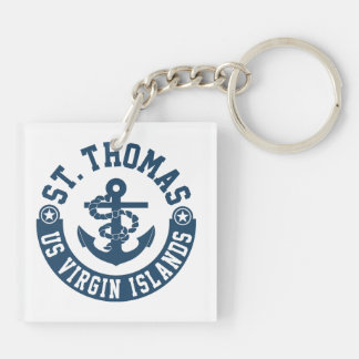St. Thomas US. Virgin Islands Double-Sided Square Acrylic Key Ring