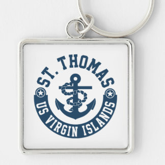 St. Thomas US. Virgin Islands Silver-Colored Square Key Ring