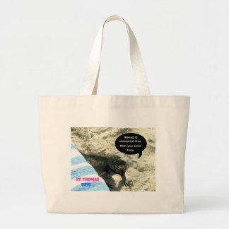 St. Thomas USVI, Iguana on beach Jumbo Tote Bag