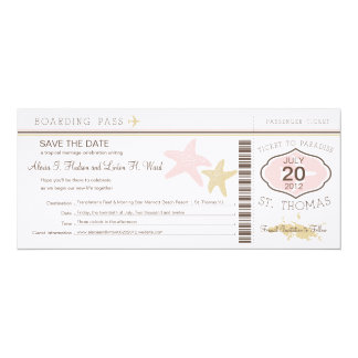 St. Thomas Wedding Boarding Pass Card