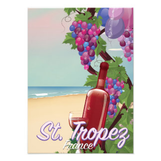 st. tropez France wine travel poster Photo Art