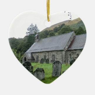 St Tydecho Llanmawddwy Church, Wales Ceramic Heart Decoration