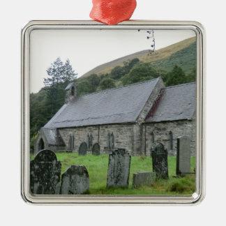St Tydecho Llanmawddwy Church, Wales Silver-Colored Square Decoration