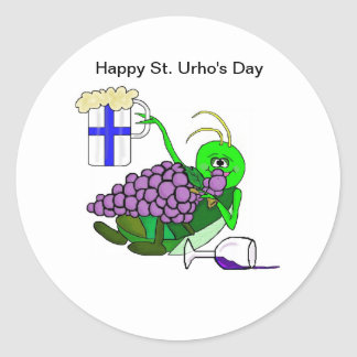 St Urho s Day Stickers with Drunken Grasshopper