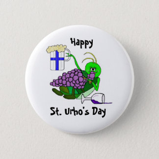St. Urho's Day Button - Drunk Grasshopper