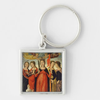 St. Ursula and Four Saints (tempera on panel) Key Ring