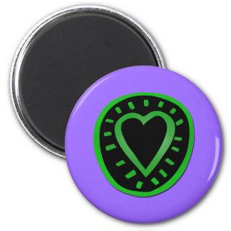 St Valentine's Day - Green and black Heart -3- 6 Cm Round Magnet