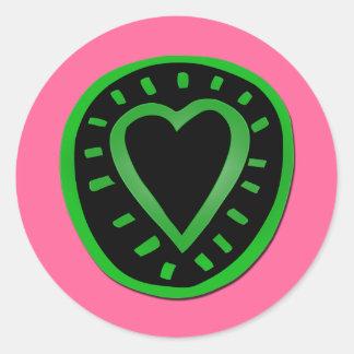 St Valentine's Day Green Black Heart Pink Sticker