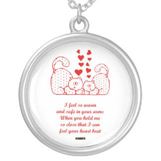 St. Valentine's Day Happy Valentine's Day cats Round Pendant Necklace