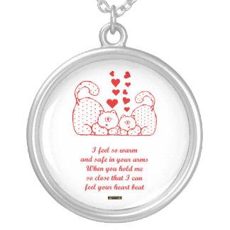 St. Valentine's Day Happy Valentine's Day cats Round Pendant Necklace