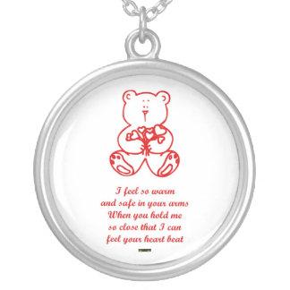 St. Valentine's Day Happy Valentine's Day teddy Round Pendant Necklace