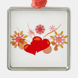 St. Valentine's day Silver-Colored Square Decoration