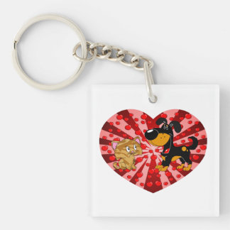 St. Valentine's Day Single-Sided Square Acrylic Key Ring