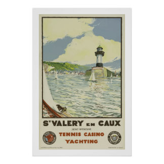St Valery En Caux, Tennis Casino Yachting Poster