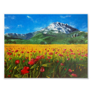 St Victoire with Poppies Print