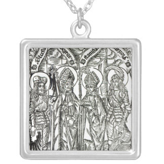 St. Wenceslaus, Adalbert,Stanislaus St. Florian Silver Plated Necklace