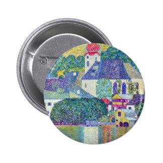 St. Wolfgang Church by Gustav Klimt, Victorian Art 6 Cm Round Badge