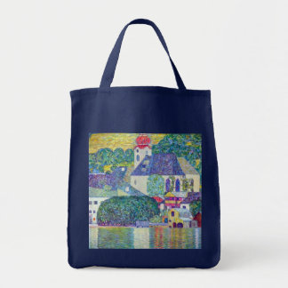 St. Wolfgang Church by Gustav Klimt, Victorian Art Canvas Bags