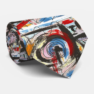 Staccato-Hand Painted Abstract Art Brushstrokes Tie