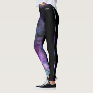 """Stacey"" Purple Abstract with strip Leggings"