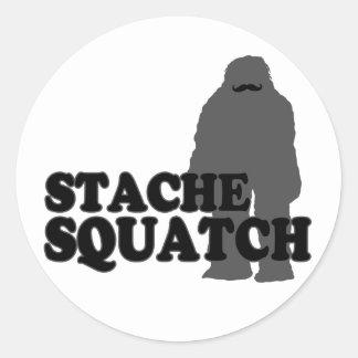 Stache Squatch Classic Round Sticker