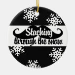 Staching through the snow christmas tree ornaments