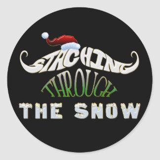Staching Through the Snow Classic Round Sticker